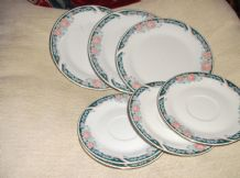 4 X PRETTY GREEN PINK ROSE RIM SIDE PLATES & 4 X SAUCERS CROWN MING JIAN SHIANG